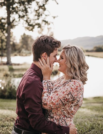 engagement photos at white modern barn wedding venue in east tennessee