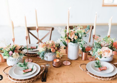 beautiful table setup in white modern barn wedding venue in east tennessee