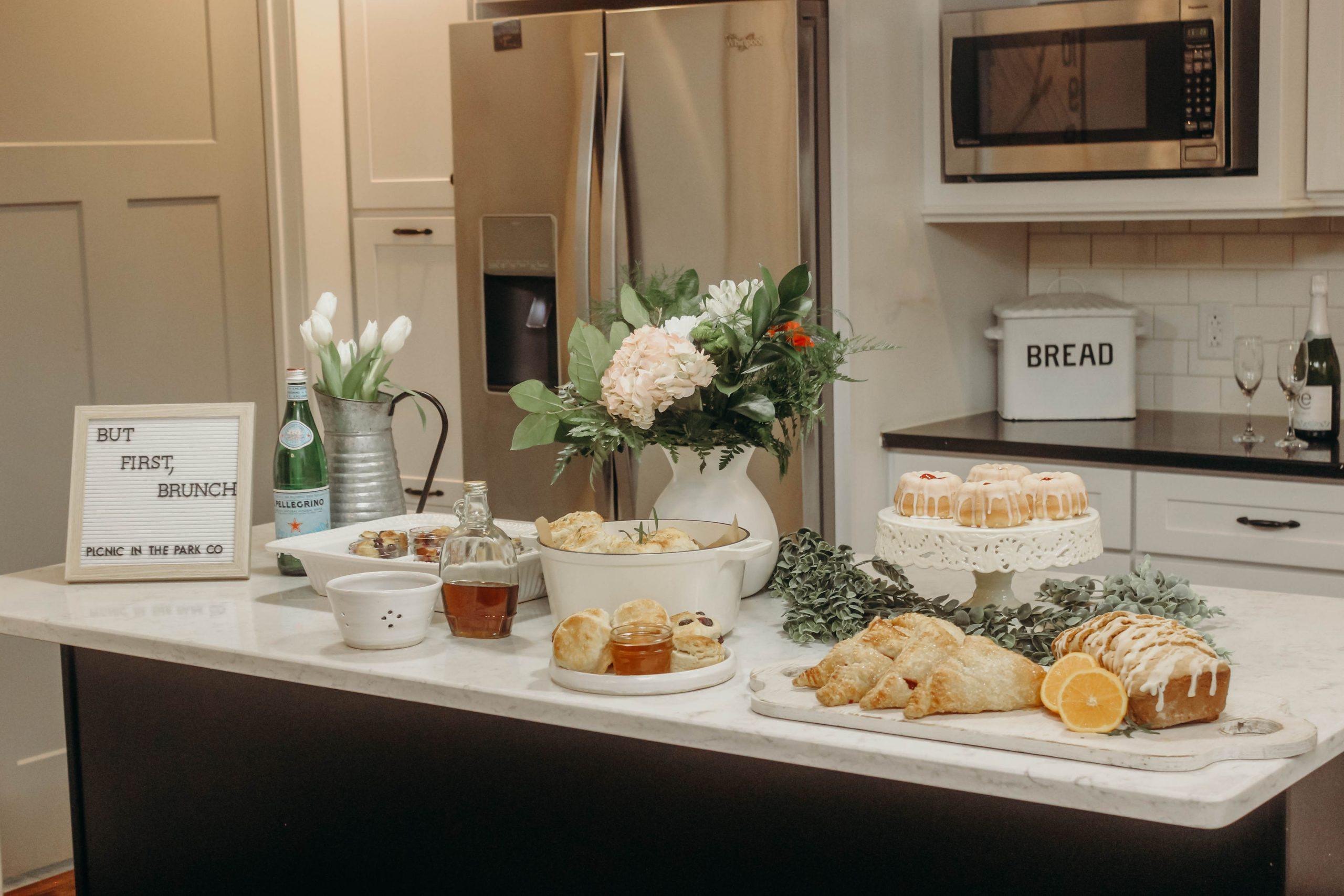 Brunch food table at modern farm house