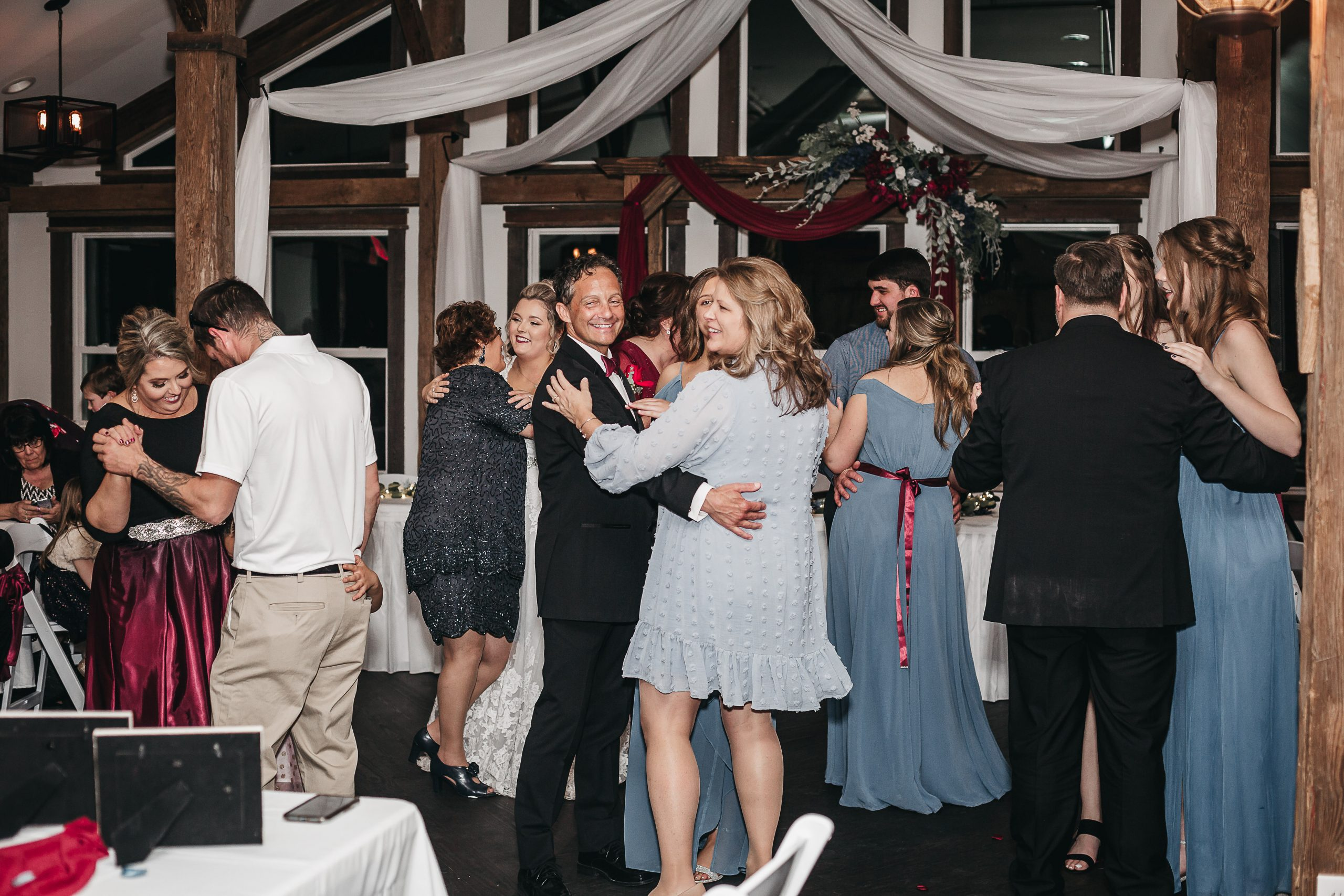 Barn wedding reception.White barn wedding reception