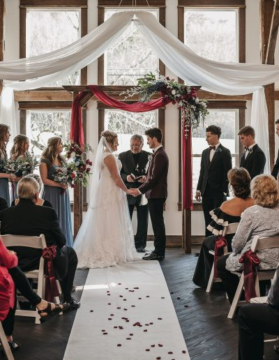Barn wedding ceremony. White Barn Wedding