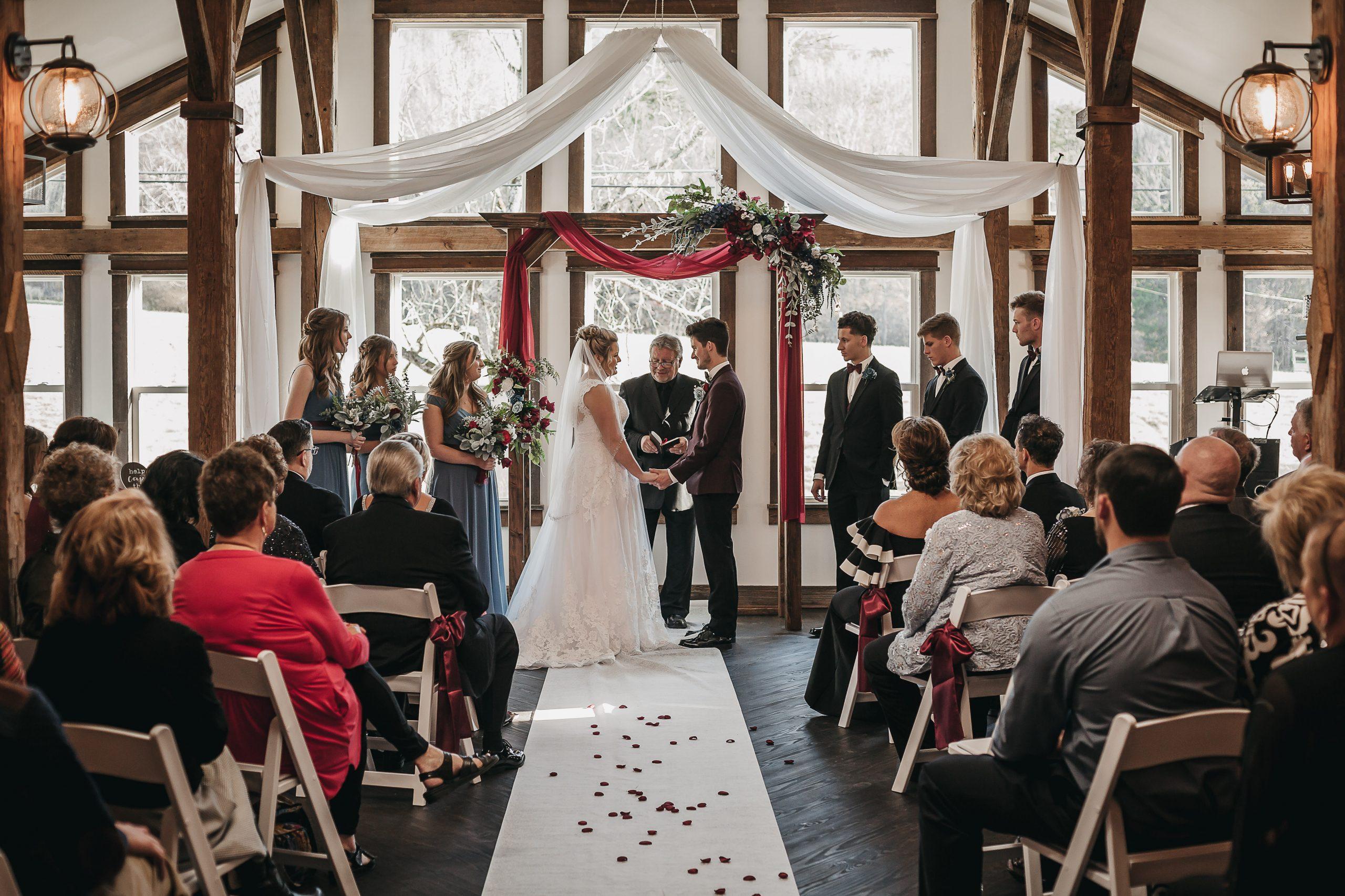 Barn wedding ceremony. White Barn Wedding